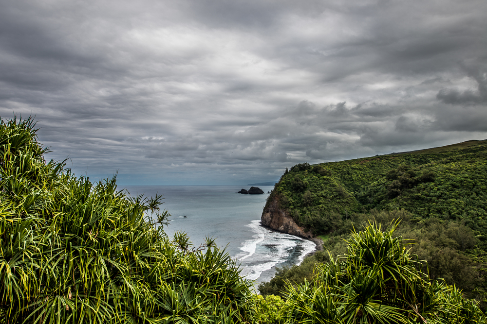 Clouds moving in over the Pololu Valley Overlook on the Big Island of Hawaii.