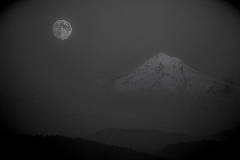 Full moon (3 moons ago) over Mount Hood.