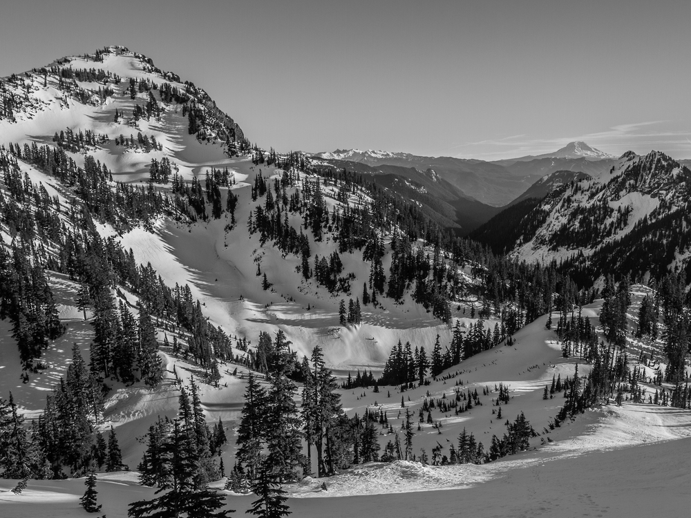 Looking down the southeast face of Lane Peak. Mount Rainier National Park.