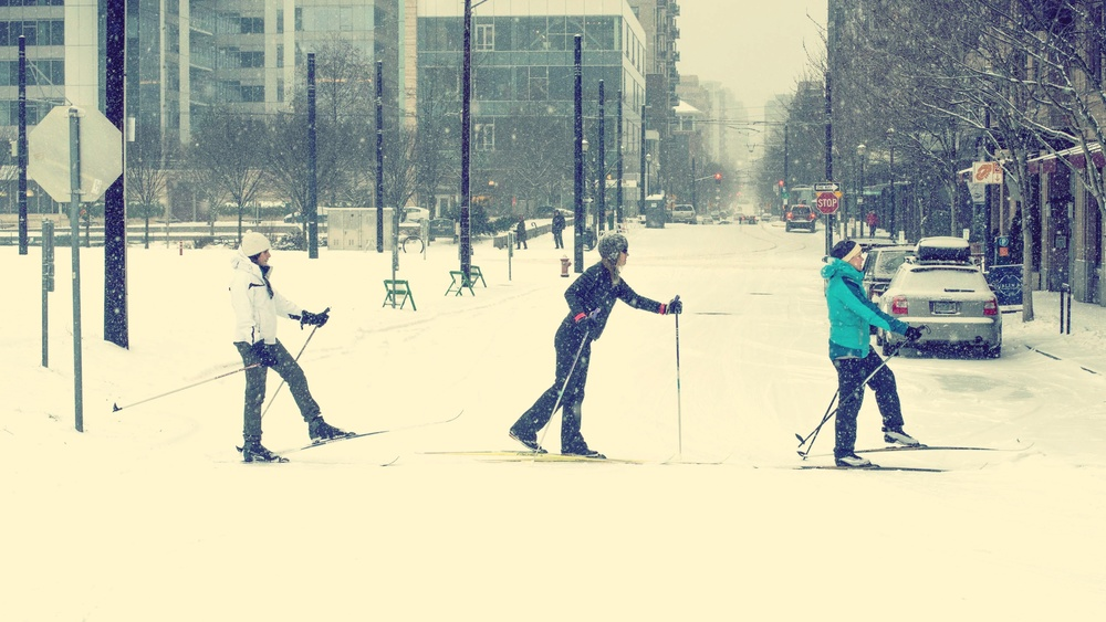 Skiing downtown Portland during the 2014 Snopocalypse...and an attempt at an Abbey Road remake.