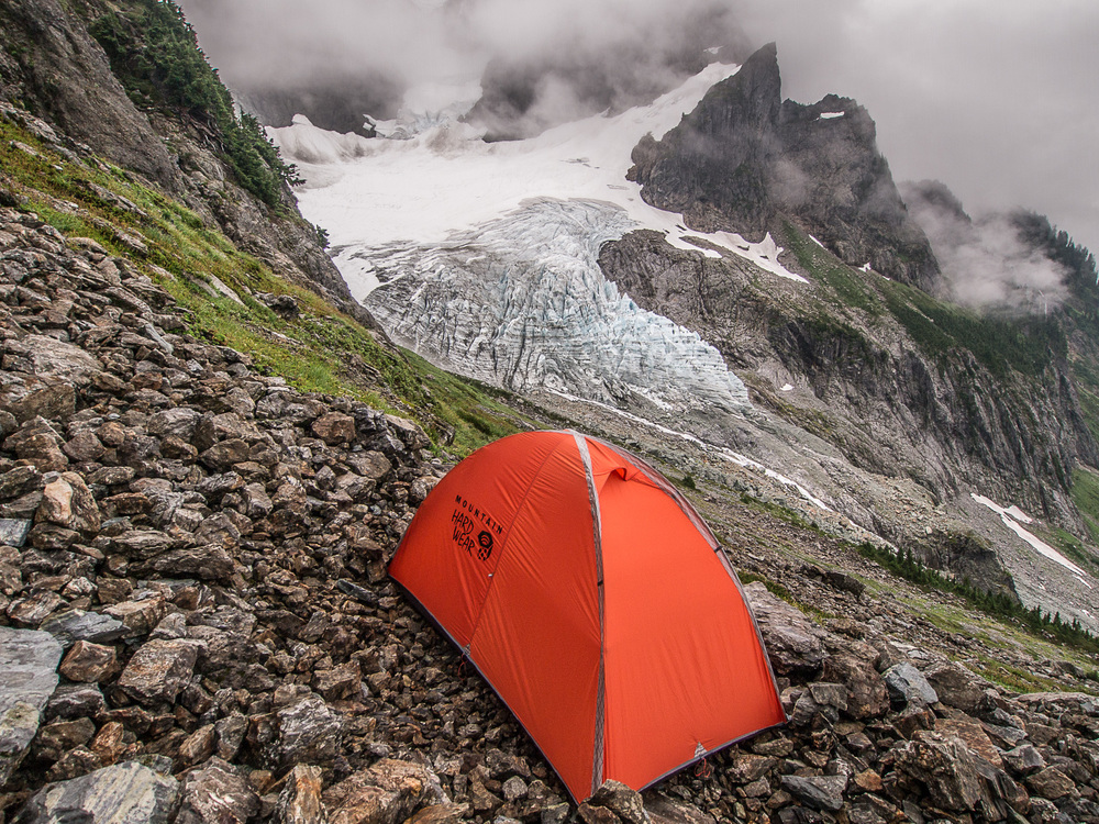 Bivy site just below Fisher Chimneys, Mount Shuksan.