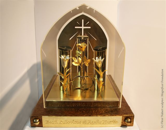 First photo of the new reliquary of Blessed Louis and Zelie and their daughter St. Therese.  This reliquary was created by artist Fleur Nabert.