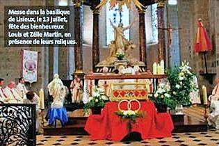 Celebrating the feast of Louis and Zelie Martin in the basilica at Lisieux, July 13, 2014 in the presence of their reliquary.