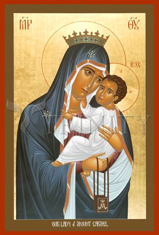 Icon of Our Lady of mount carmel  by brother robert lentz.  available from trinity icon stores; click on the image.  purchases through the link support this web site.  thank you.