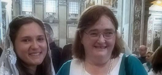 With Mackenzie Key (left) in st. Peter's Basilica, October 17, 2015