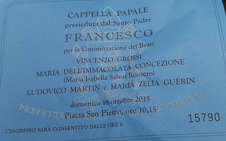 A ticket to the canonization