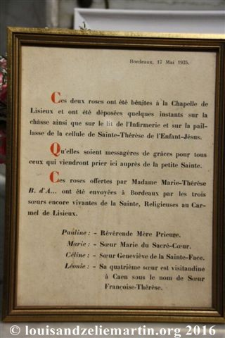 A document commemorating the gift of the golden roses