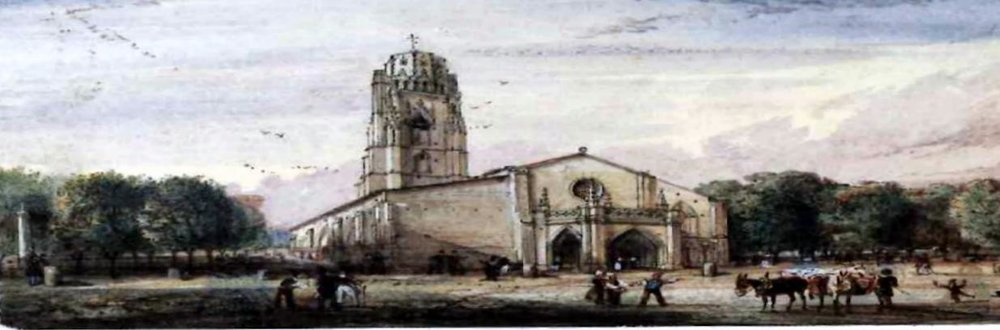 a sketch of st. eulalie's church as it appeared in the 19th century.  Louis martin was baptized here in 1823.