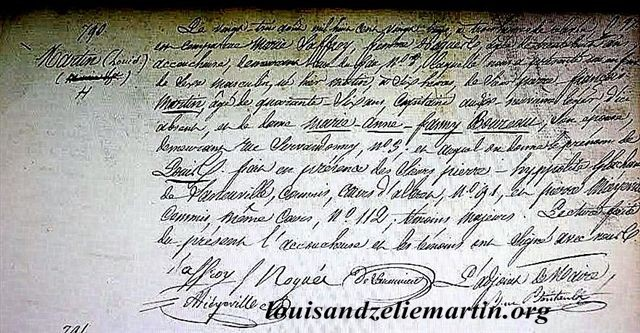 the civil record of st. louis martin's birth in bordeaux on august 22, 1823, including the hour of his birth and the midwife's name.  for an english translation and a french typescript, click the photo.