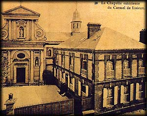 An early photo of the lisieux carmel.  visitors entered the speakroom, where louis visited his daughters, through a door at the right of the chapel above.