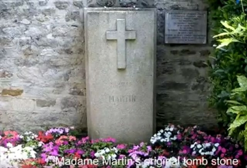 saint Zelie Martin's first tombstone.  it marked her grave in the cemetery of the church of notre dame in alencon until 1894, when her body was moved to lisieux and interred beside the body of her husband.   photo credit:  susan ehlert.