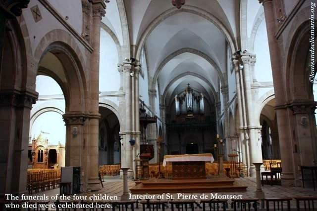 Interior of St. Pierre de Monstort Church, Alencon.  Marie-Joseph-Jean-Baptiste was baptized here, and his funeral was celebrated here.