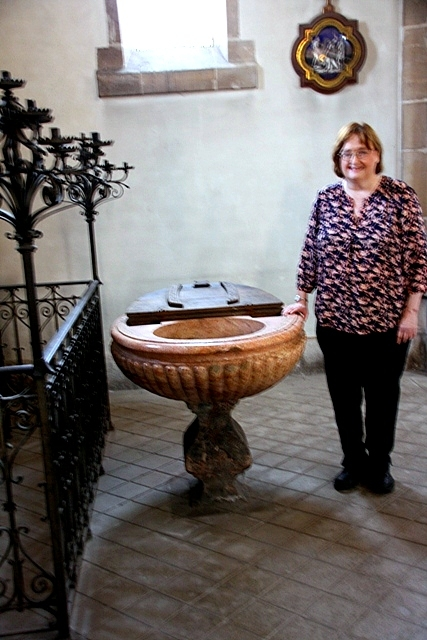 The baptismal font at St. Pierre de Montsort