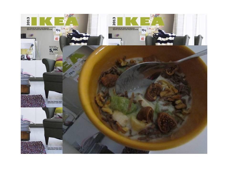 Bom dia!! Eis o meu pequeno-almoço enquantofolheava as páginas do catálogo IKEA 2013 - muito semelhante ao de 2012, refira-se. Só para avisar que me deu na cabeça e resolvi criar página no facebook para este bloguezito. Para gostar, aqui,please. :) P.S - aos que se perguntam, aquilo é iogurte.