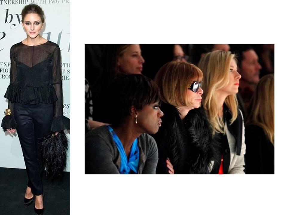 Se estão a ponderar dar um pezinho pelas Semanas da Moda que vão acontecer por aí - Londres (17-22 Fev), Milão (22-28 Fev) e Paris (28Fev-7Mar) - e acaso não sabem o que vestir, podem bem pensar em algo género Olivia Parlemo e Anna Wintour. Look negro total e uma pitada de pêlo/penugem (o que quiserem chamar desde que IMITAÇÃO, please). Os outfits na front row e street style das Modas têm-se destacado assim e muito bem: é chic e na verdade muito simples.   Para vocês, boa viagem e fotos muito loucas. Quanto a mim, o relógio ainda bate as nove horas e já o meu dia começou há mais de uma. Entre outras coisas, uma reunião importante importante, um jantar e a dispensa de uma pessoa (que custa sempre). Verei se consigo ser eu até ao fim do dia. Caso contrário, dou-me de aluguer (salvo seja).   Fotografia: dailymail.co.uk e reuters.
