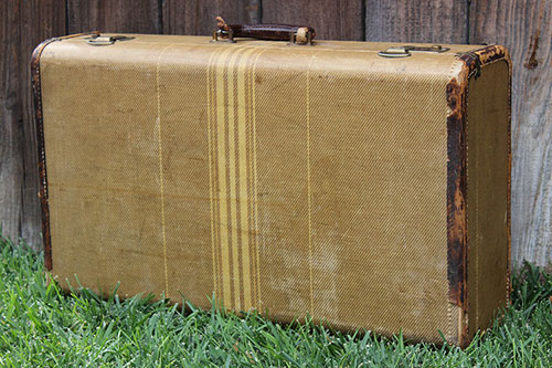 Tan with Cream Stripes & Leather Trim - $15 MORE DETAILS & PICS...