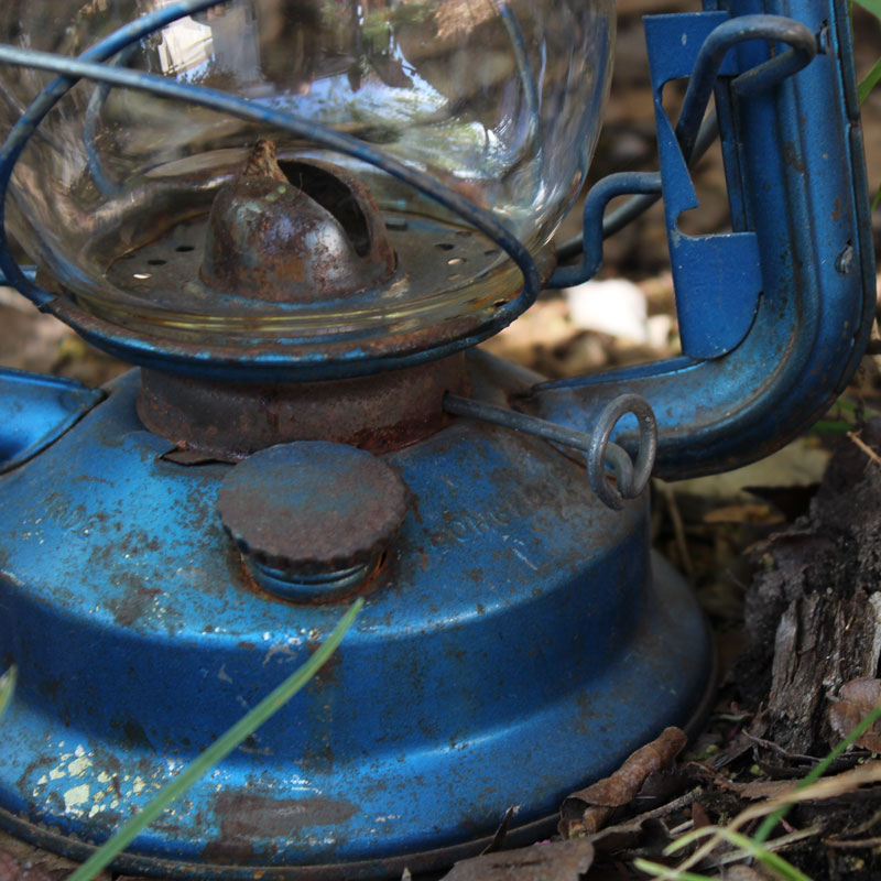 Rusty Blue Train Lantern