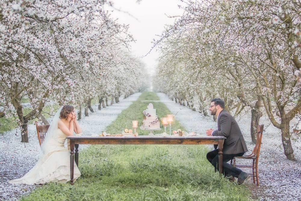 Romantic California Almond Orchard Wedding Farm Tables