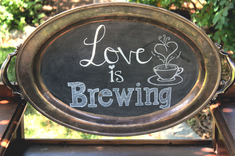 "VINTAGE SILVER TRAY CHALKBOARD ""Love is Brewing""  -  $20   Size: 20"" x 14"""