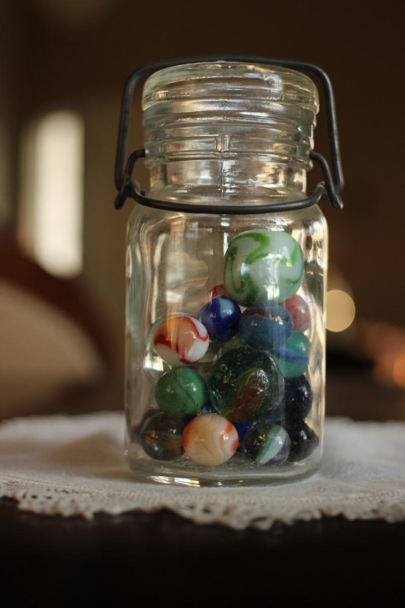 Vintage Marbles in Mason jar