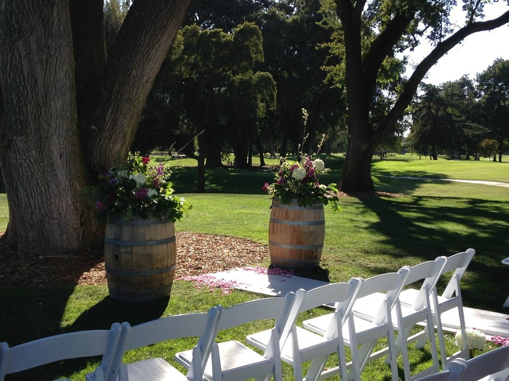 Wine Barrel Wedding ceremony aisle