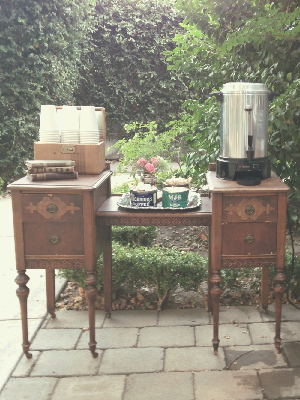 McHenry Mansion Wedding Vintage Coffee Bar