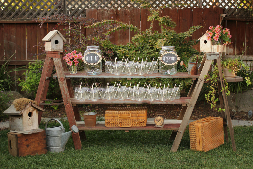 Rustic Vintage Ladder Shelf Beverage Bar