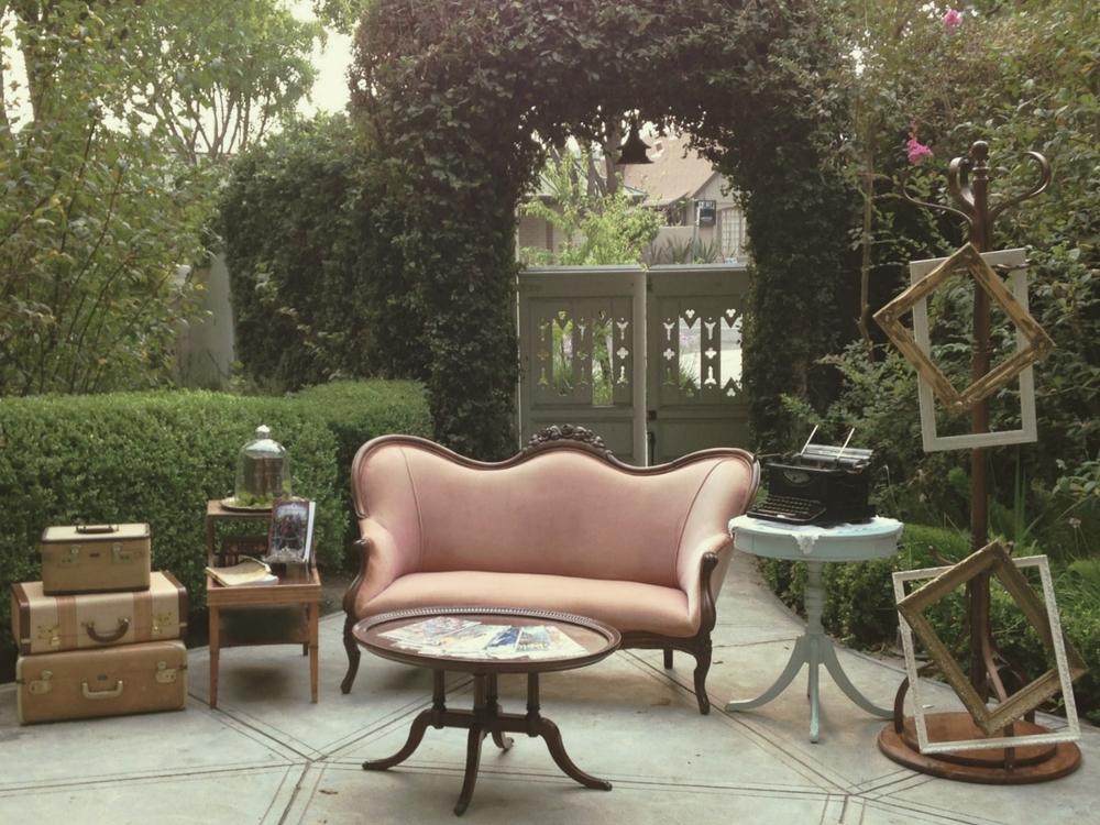 McHenry Mansion Modesto garden wedding vintage furniture rentals