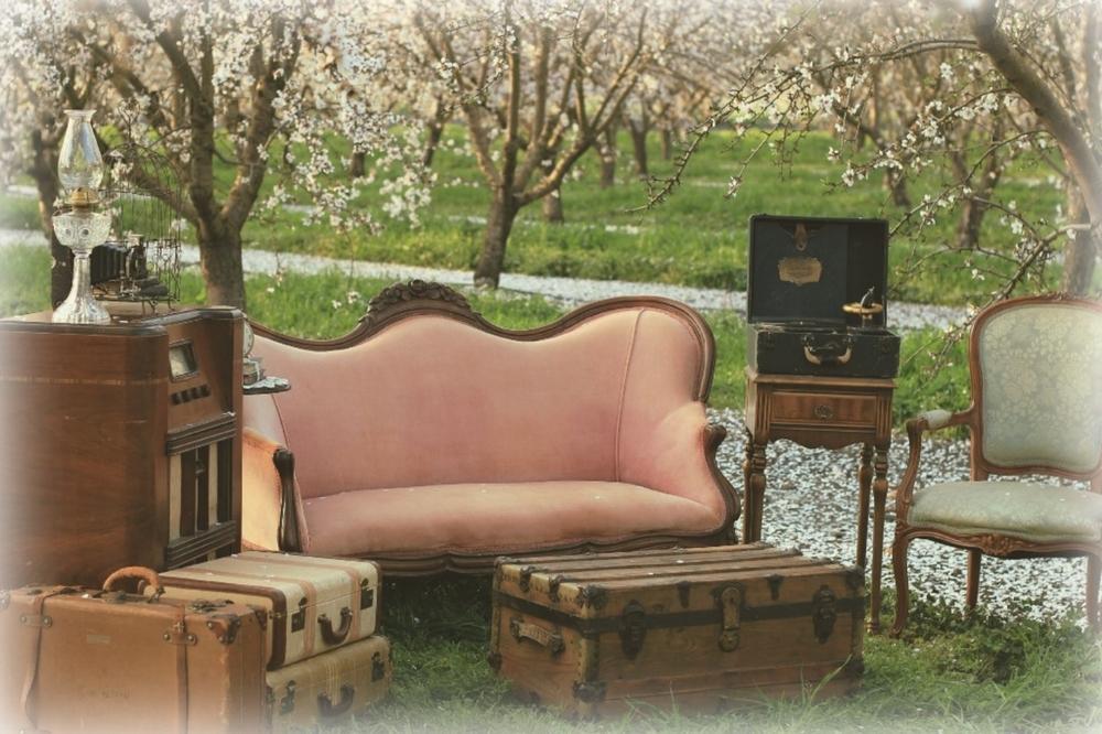 California almond orchard vintage wedding furniture rentals