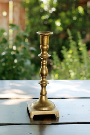 """KIRAN"" - TALL, Brass Taper Candlestick Qty Available - 1   RENT FOR $8"