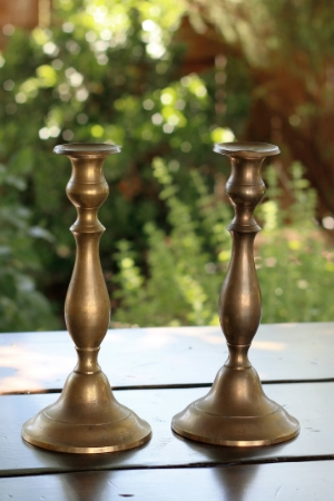 """NIERA"" - Tarnished Brass Taper Candlesticks RENT FOR $8/Each MORE DETAILS & PICS..."