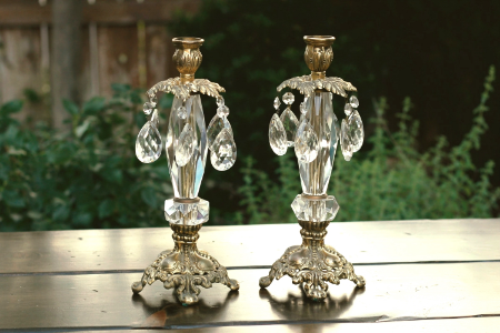 """RADIANCE"" - Ornate Brass and Crystal Candlestick RENT FOR $20/Each MORE DETAILS & PICS..."