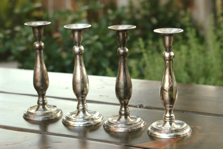 """VEDETTE"" - 8 inch Silver Candlesticks with tarnished patina   RENT FOR $5/Each"