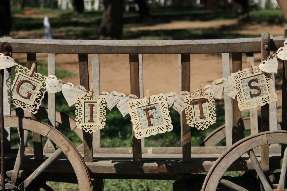 """GIFTS""   BANNER - $5 Wood frames with vintage sheet music and hearts on twine"