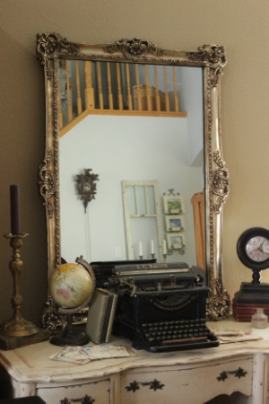"LG - GOLD-FRAMED MIRROR - 30"" X 42""  $30"