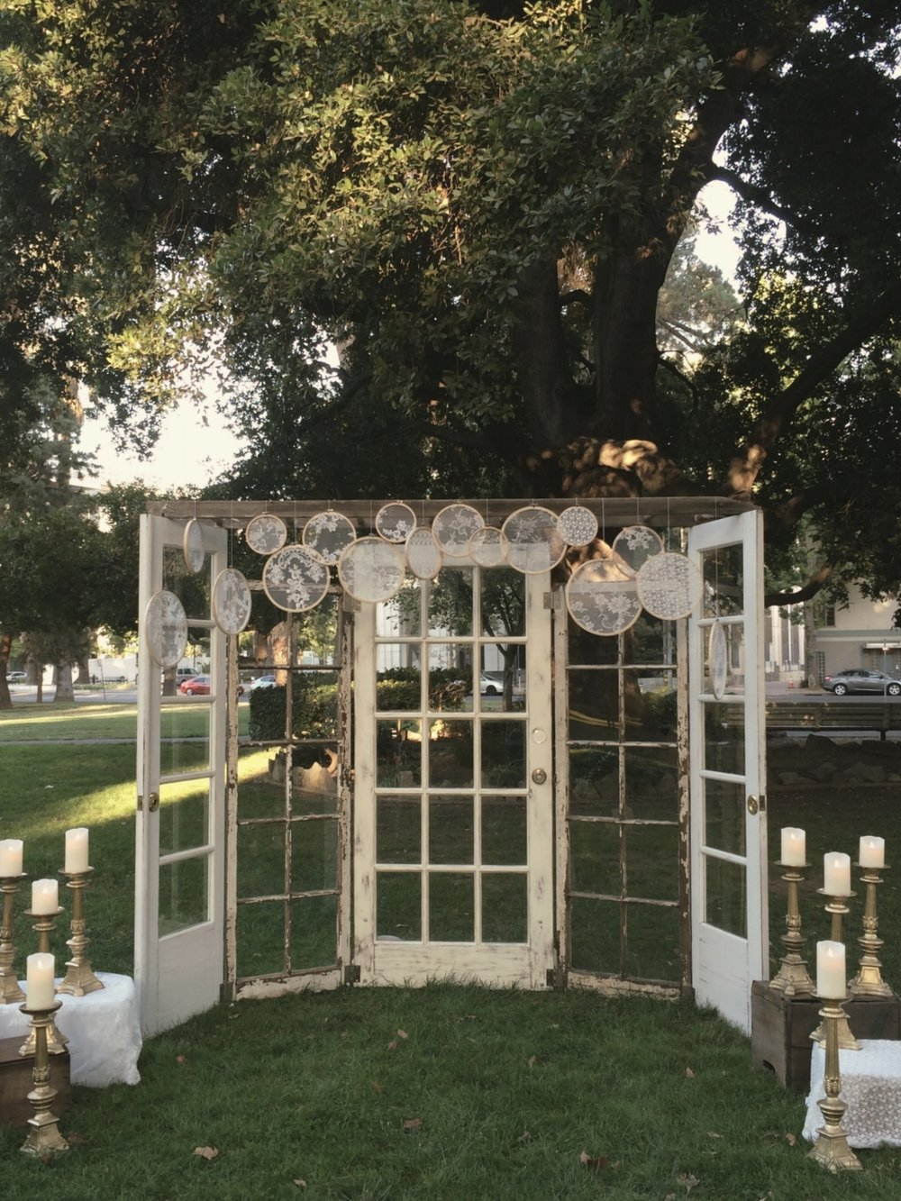 Vintage Boho Wedding Door Altar Backdrop