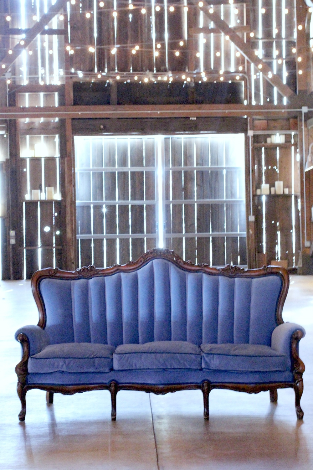 Oak farm Vineyards Lodi blue velvet sofa french provincial vintage wedding rentals