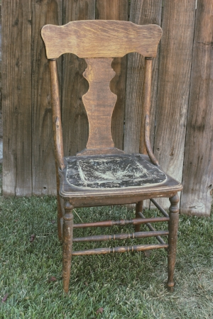 Rustic Wood Chair w/Leather Seat RENT FOR $15 MORE DETAILS & PICS...