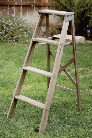 Weathered Wood A-Frame Ladder - $25    MORE DETAILS & PICS...