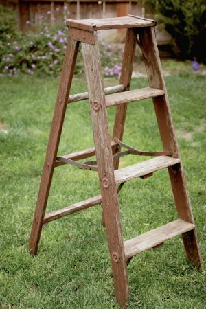 Rustic Wood A-Frame Ladder - $25    MORE DETAILS & PICS...