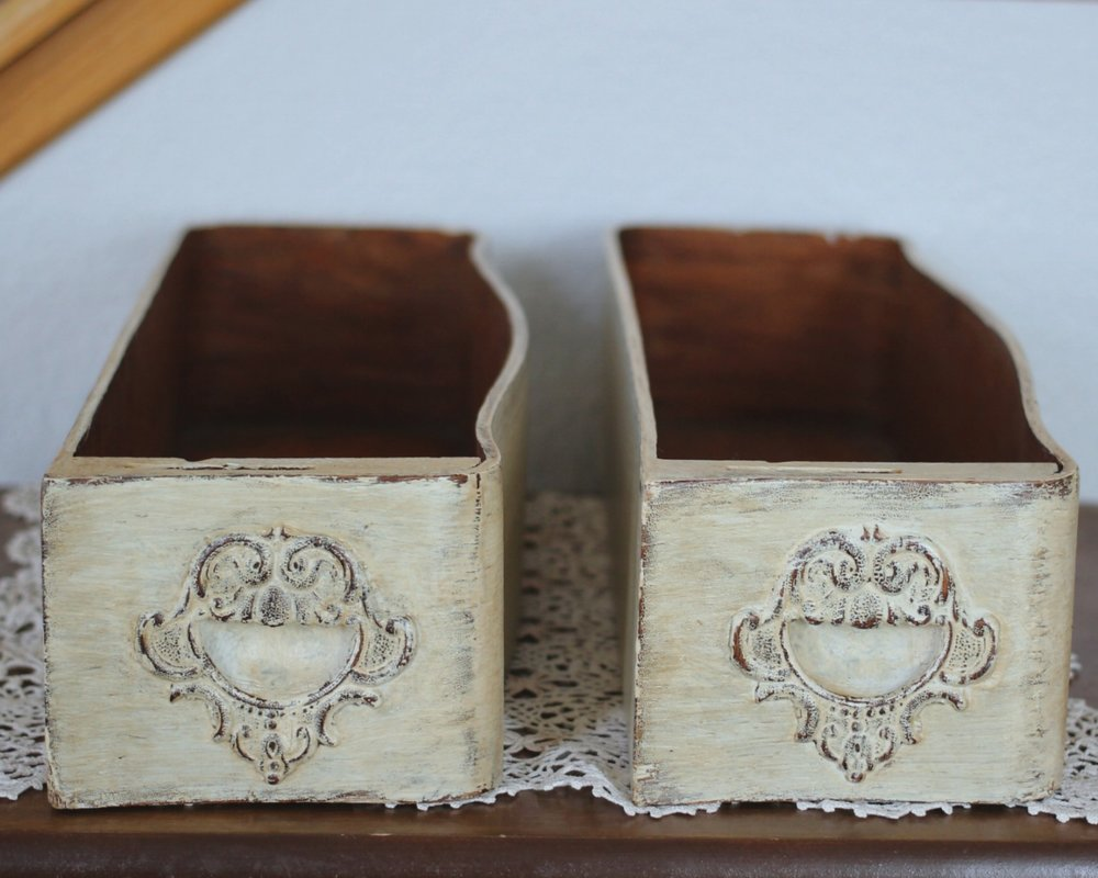 VINTAGE WHITE SEWING MACHINE DRAWERS $10 EACH