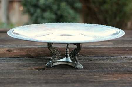 "FOOTED PEDESTAL TRAY - $10 12"" D X 3"" H"