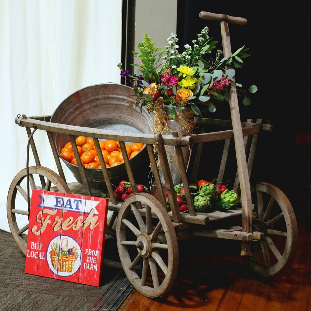 Rustic Vintage Goat Cart Farm Display