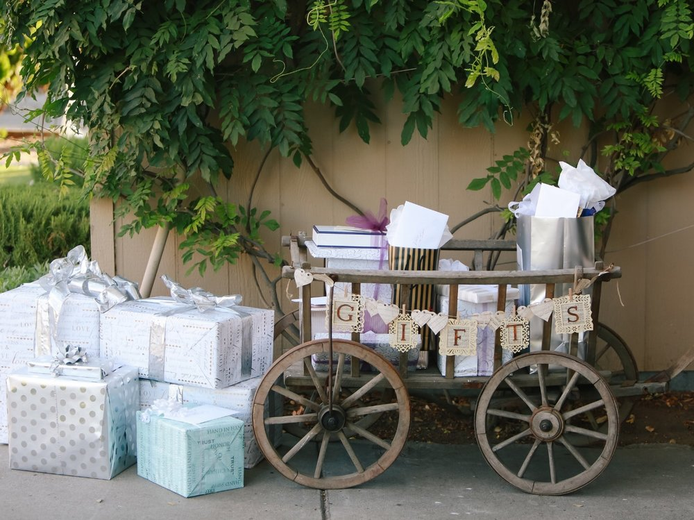 Vintage Wedding Gift Table - Rustic Cart