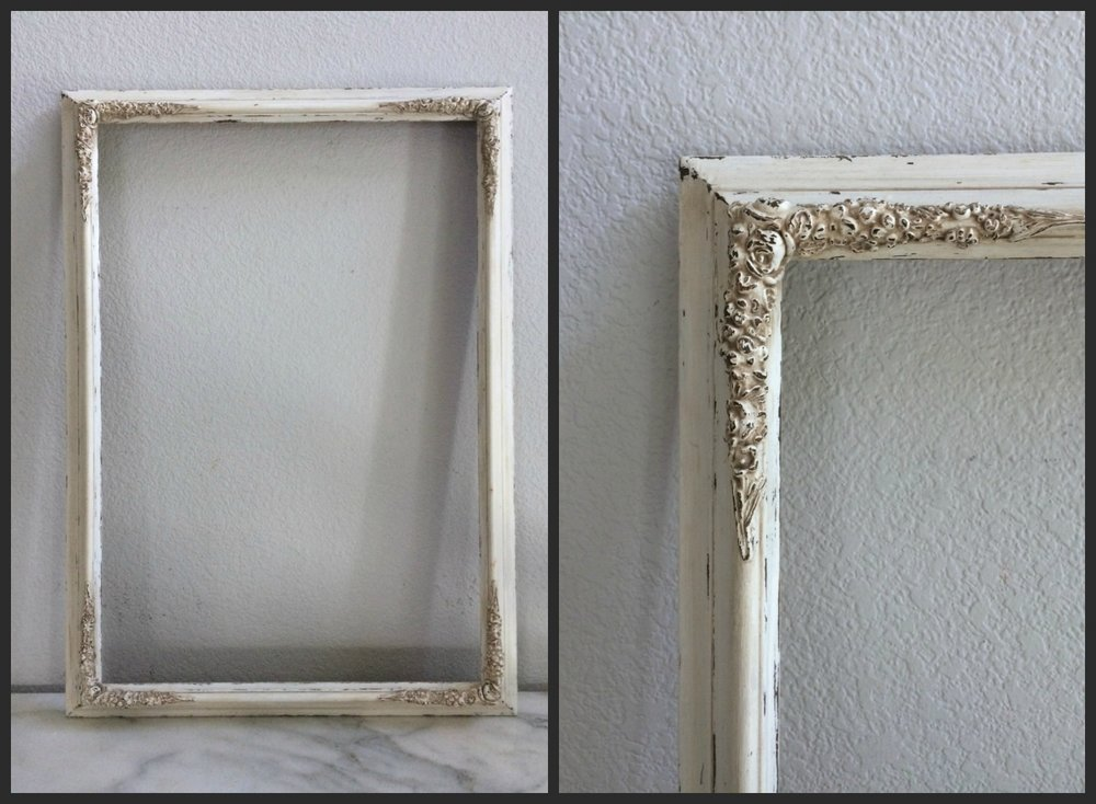 "LG -ANTIQUED WHITE, EMBELLISHED CORNERS - 16"" X 25.5""X 2"" - $15"
