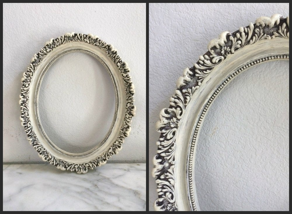 "SMALL - WHITE, OVAL ORNATE - 18""x 14""x 2"" - $10"