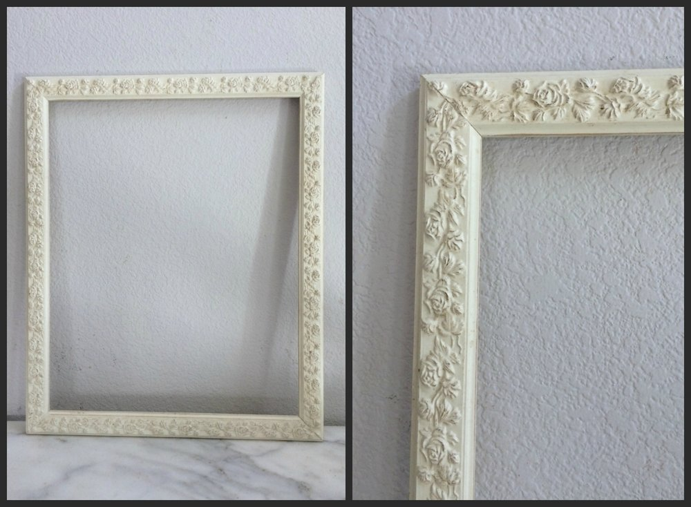 MED - IVORY ORNATE ROSE - 16 X 20 X 1.5    - $8