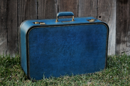 1950's blue suitcase - $15  MORE DETAILS & PICS...
