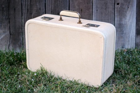 1950's Cream-Colored suitcase   - $15  MORE DETAILS & PICS...