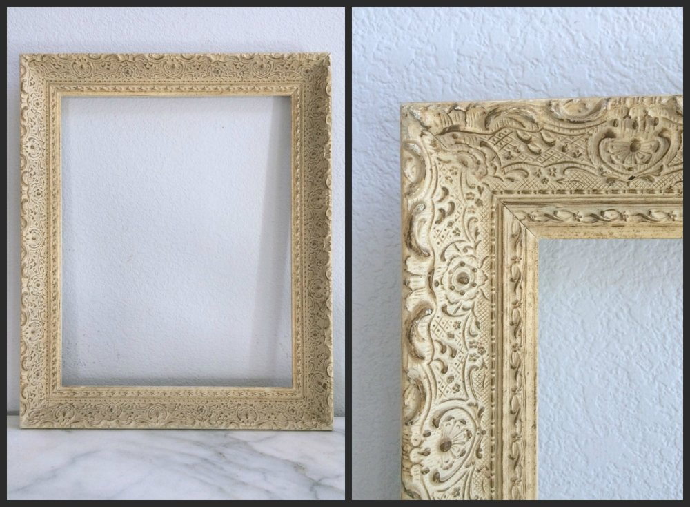 "LARGE - CREAM/GOLD ORNATE FLORAL - 16""X 20"" X 2.5"" - $15"